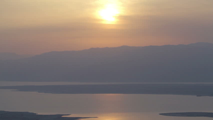 Beautiful Sunrise on dead sea horizon. Chill and relaxing. 