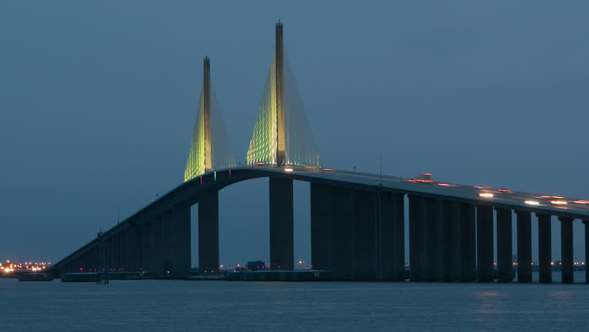 Timelapse traffic crosses the sunshine skyway bridge for Sunshine skyway fishing pier