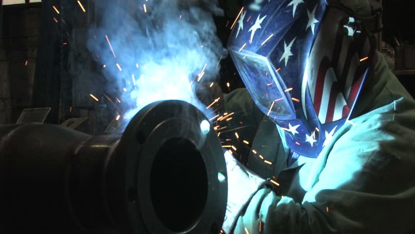 Man Welding, Close Up 1 - HD stock video clip