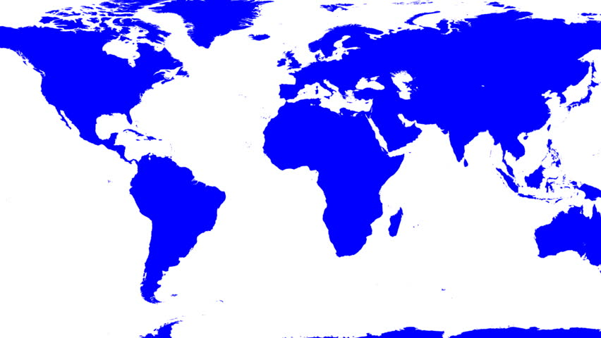 World Map Wraps to Globe (white background). Classic TV news style. You can change color, hue or lightness, or use the clip as a matte to change background. Texture based on NASA pictures. - HD stock video clip