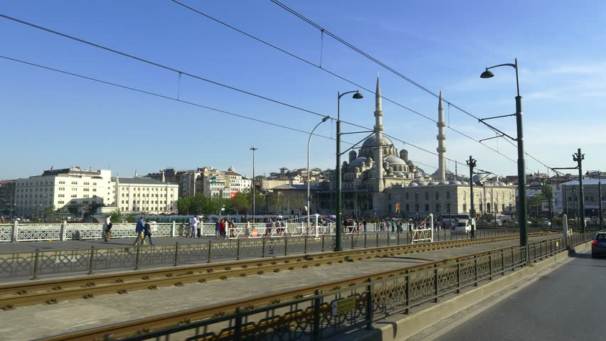 A scenic drive takes you across the Galata Bridge into the heart of Istanbul. Yeni Mosque at the old side of Istanbul