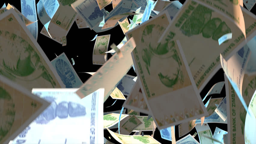 Falling Zimbabwe money banknotes  Video Effect simulates Falling Mixed Zimbabwe money banknotes with alpha channel (transparent background) in 4k resolution