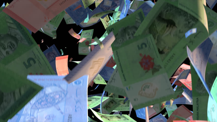 Falling Malaysia money banknotes Video Effect simulates Falling Mixed Malaysia money banknotes with alpha channel (transparent background) in 4k resolution