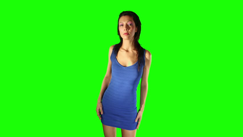 sexy dancer against a green screen, for easy chroma keying - HD stock video clip