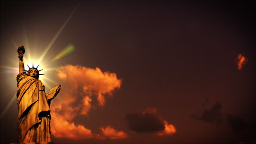 Liberty statue at sunset, time lapse clouds | Shutterstock HD Video #1011859