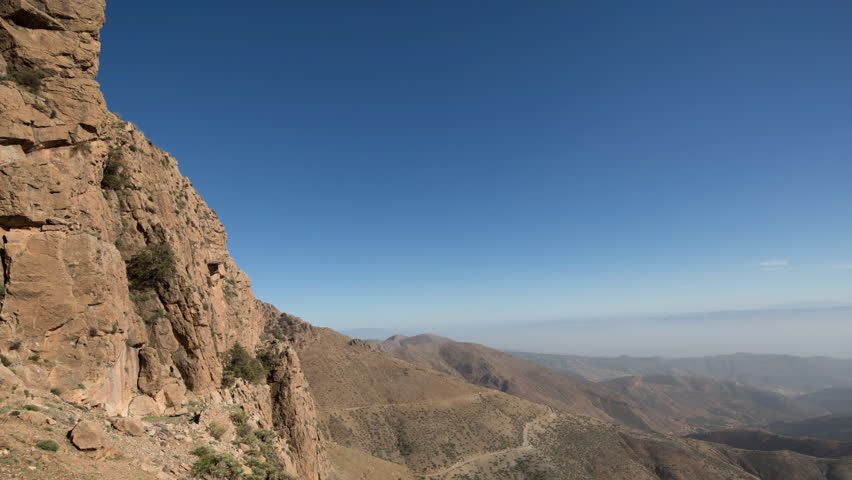 beautiful timelapse of the tiz n test pass in the atlas mountains, morocco