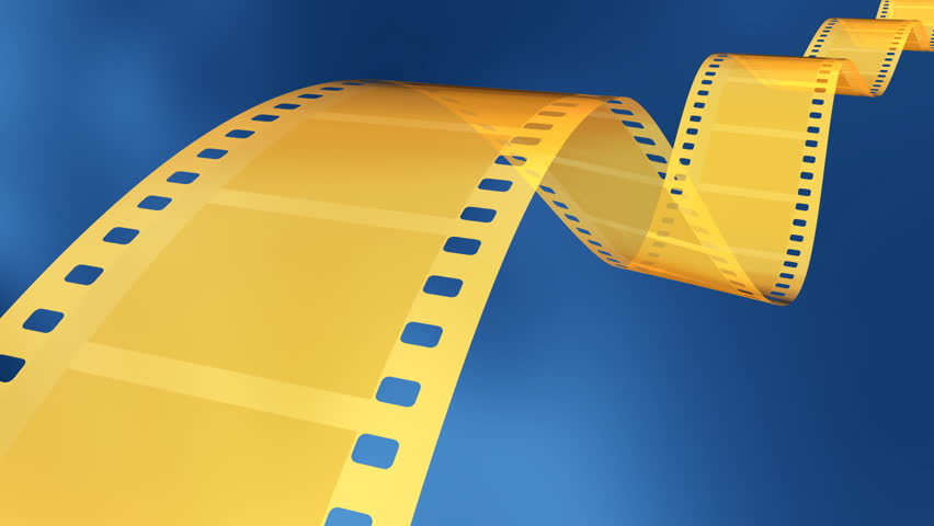 3D rendered 35 mm gold film in blue background. HD Version. - HD stock video clip