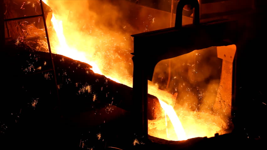 Liquid metal in the factory - HD stock video clip