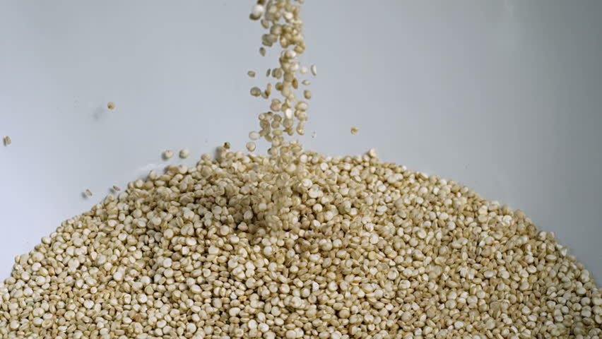 White Quinoa Seeds Falling Super Slow Motion
