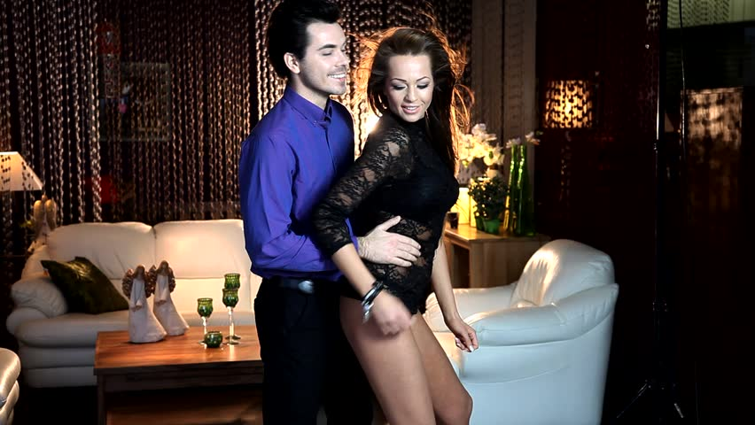 Sexy lovers in romantic evening - HD stock video clip
