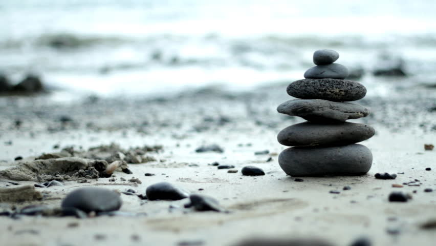 Zen Style Stones by the Sea  - HD stock video clip