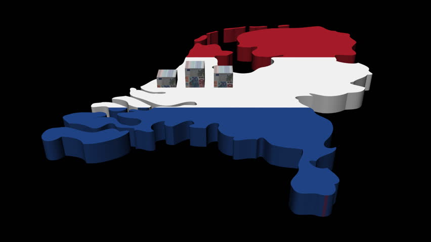 Euros graph on Netherlands map flag animation - HD stock footage clip