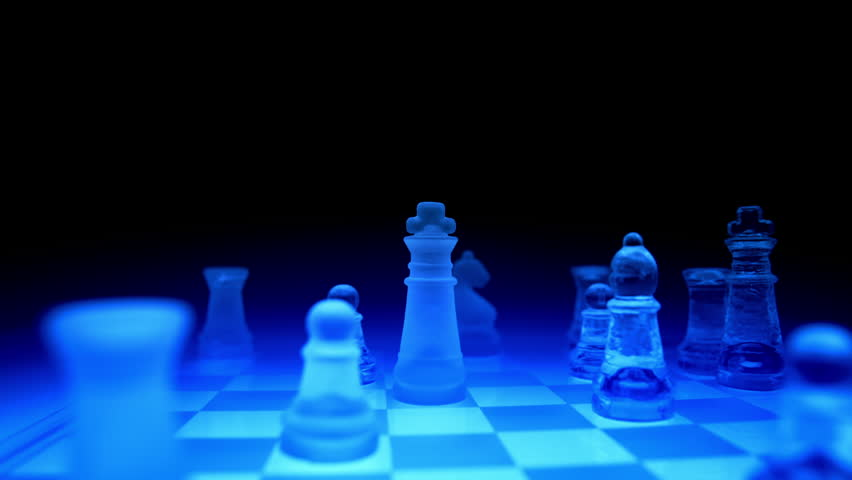 Futuristic Chess Set Tracking Shot Playing On A Blue