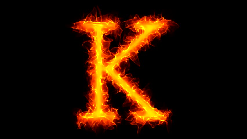 H Letter In Fire Hd Letter K On Fire Stock...