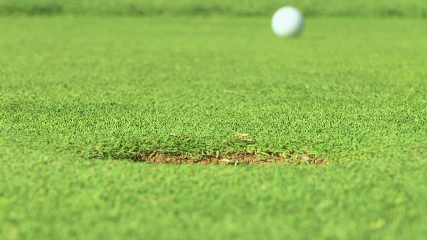 Putting green with golf ball - HD stock footage clip