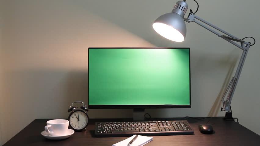Office Setup Desktop Computer With Green Screen