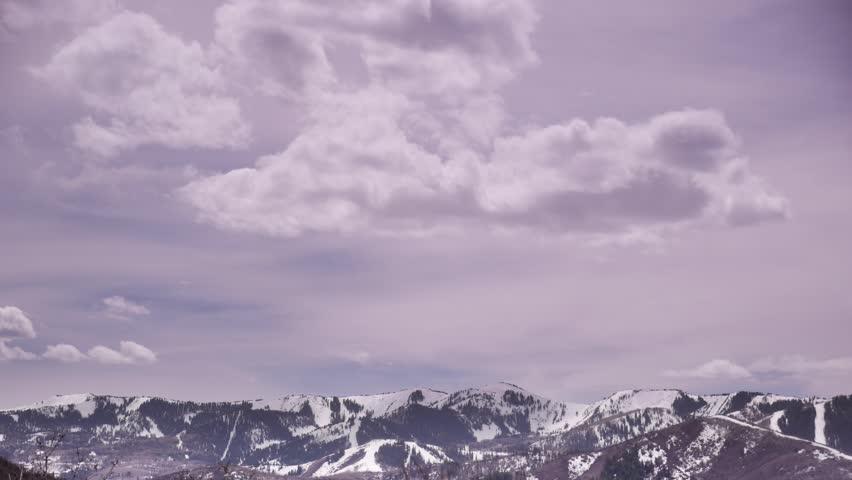 Park City, Utah - April, 2015 - 4K tilting timelapse shot of Olympic Park from Glenwild Loop Trail.