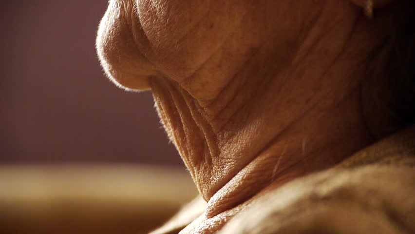 Senior old woman throat neck wrinkle skin close up - HD stock video clip