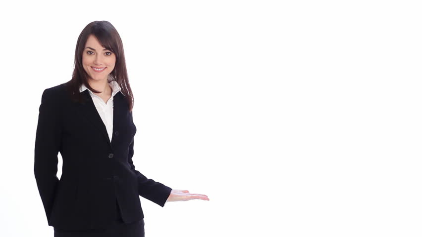 Presentation. 3 points.  Attractive, professional woman uses hand to make 3 different points. Two takes  - each at a different speed. Fill with your own text, graphics or video.  - HD stock footage clip