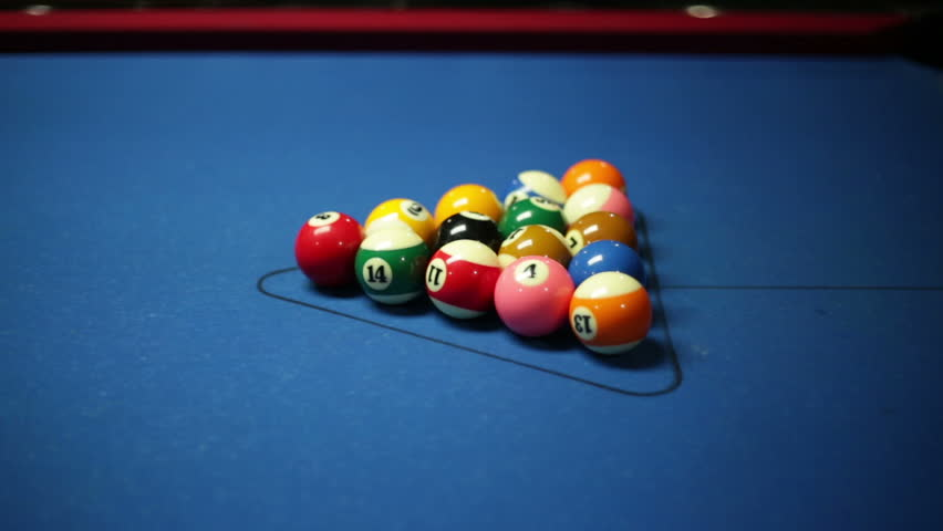 ... Game Of Pool With Blue Felt Pool Table, Side View Shot Of Break   HD