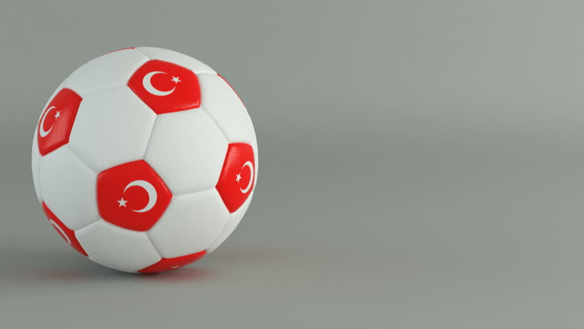3D Render of spinning soccer ball with flag of Turkey