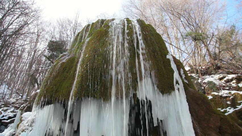 waterfall Silver stream in winter. Grand Canyon, Crimea, Ukraine - HD stock video clip