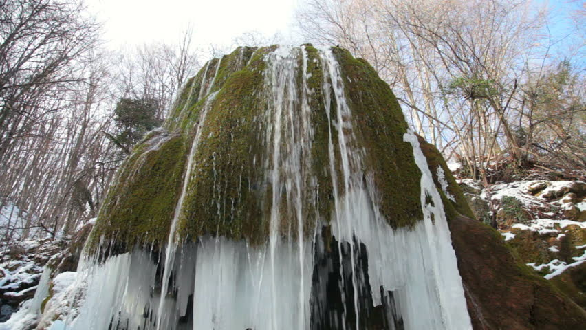 waterfall Silver stream in winter. Grand Canyon, Crimea, Ukraine - HD stock video clip