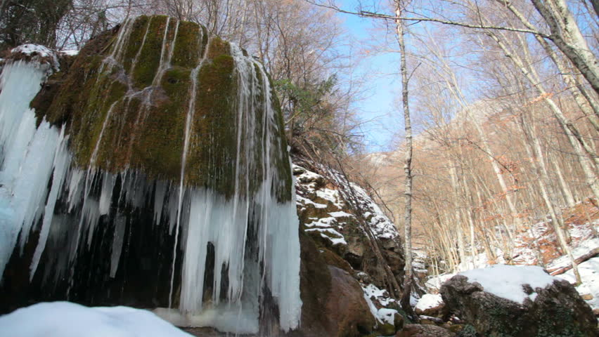 waterfall Silver stream in winter. Grand Canyon, Crimea, Ukraine - HD stock footage clip