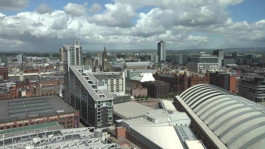 ULTRA HD 4K Panoramic view of Manchester town skyline with church town and rooftop modern design by day