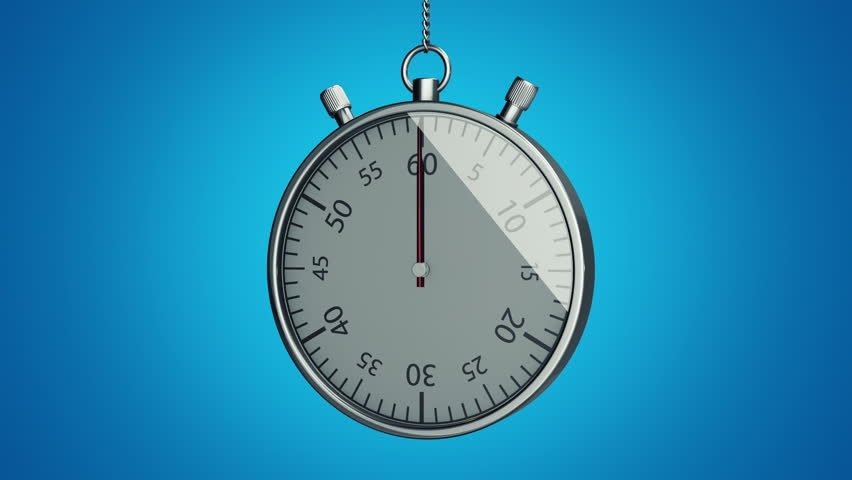 Animation of fast rotation arrow of hours, arrow of minutes and arrow of seconds in metallic stopwatch. View of close up clock or stopwatch. Animation of seamless loop.