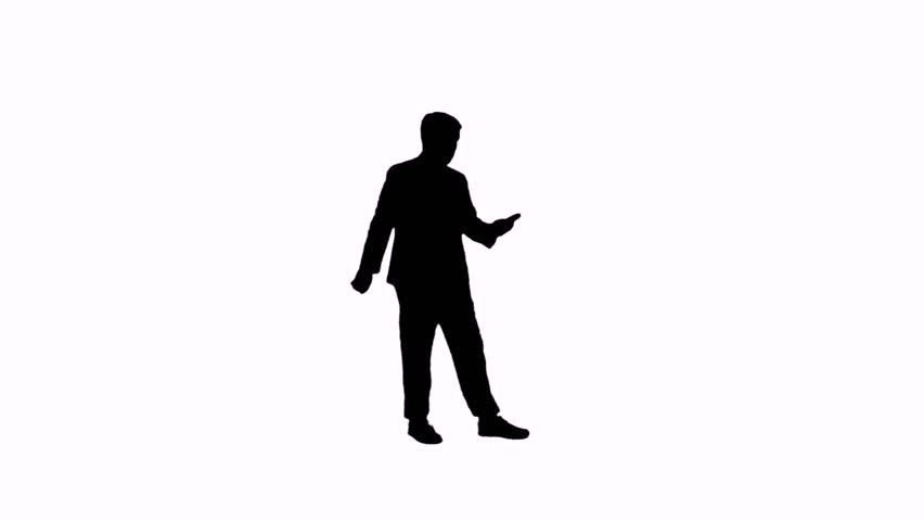 Video silhouette of a man with a phone