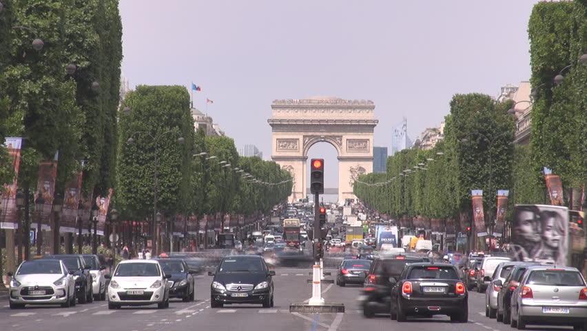 iconic symbol arc de triomphe l 39 etoile triumphal arch paris france car traffic ultra high. Black Bedroom Furniture Sets. Home Design Ideas