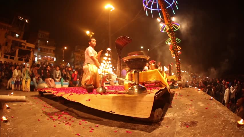 VARANASI, INDIA -  January 1, 2015: Ganges river and Varanasi ghats during Kumbh Mela festival late evening., Varanasi, India