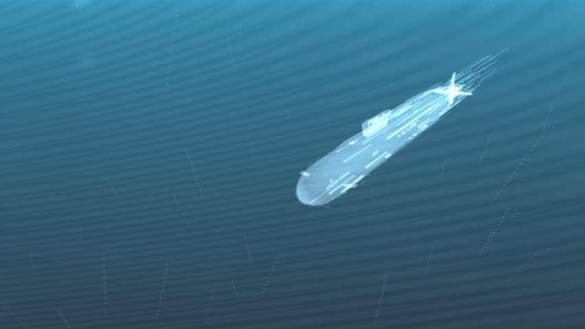 Abstract decorative 3d animation of a glowing submarine under water - 4K stock video clip
