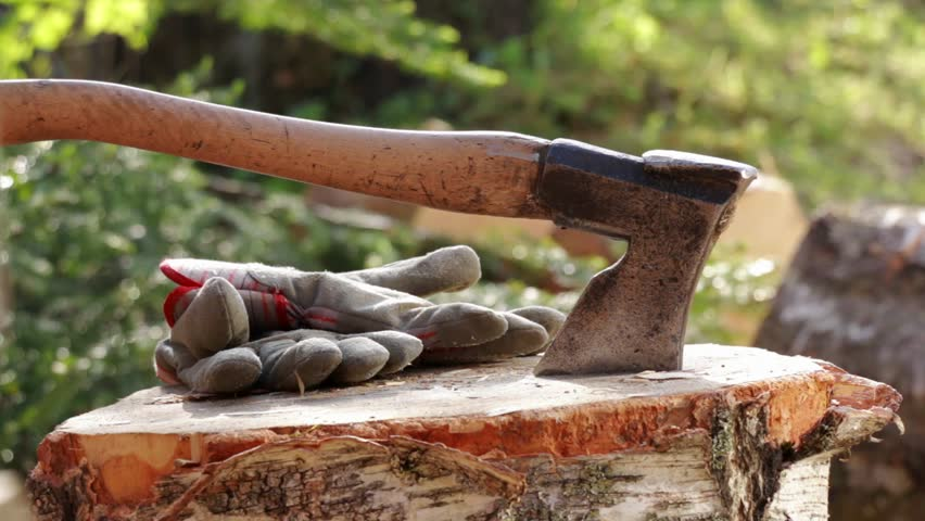 Close-up shot of an old axe hit standing on a wood chopping block with work gloves.