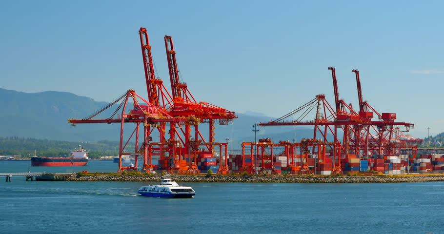 Vancouver, British Columbia, Canada - July 2015 - Shipping Yard Ship Containers, Vancouver Seabus, British Columbia - 4K stock video clip
