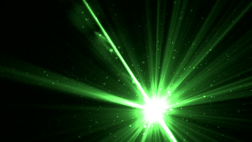 Animation Green Background With Rays And Sparkles Stars On ...