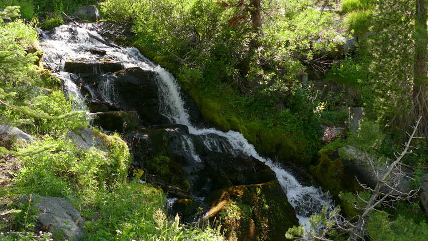 Waterfall in Lassen Volcanic National Park in Northern California, USA.  Video in 4k resolution.