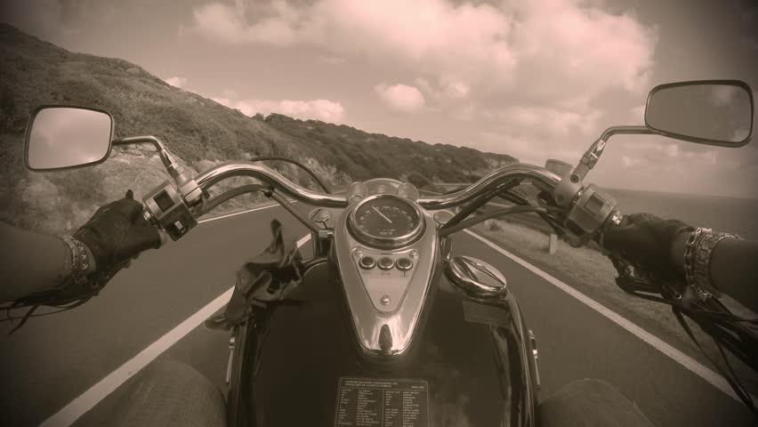 classic motorcycle in sepia tone