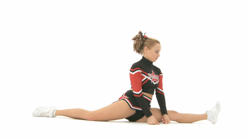 Cheerleader goes from a squatting position in the split - HD stock video clip