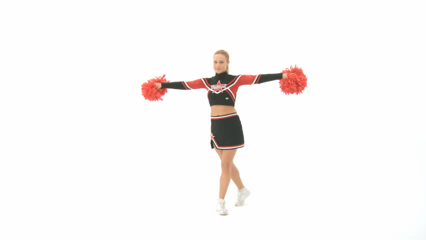 Cheerleader shows different poses  - HD stock footage clip