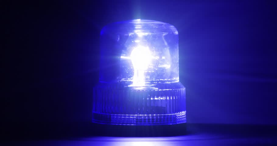 4K - Blue emergency flasher