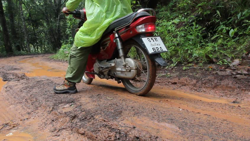 Chiang Mai.)July 25 2015. Roads in rural areas-Commuting is difficult in the rainy season of rural Thailand .(Ban PA Pong piano Mae chaem district,  - HD stock footage clip