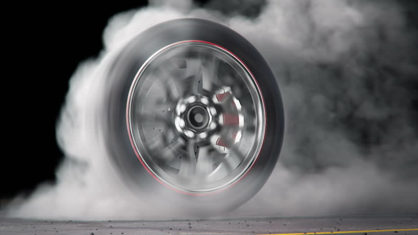 extreme tire Burnout on asphalt, lots of smoke & heat :) seamless loop, rendered with extreme level of details for fullHD - HD stock footage clip