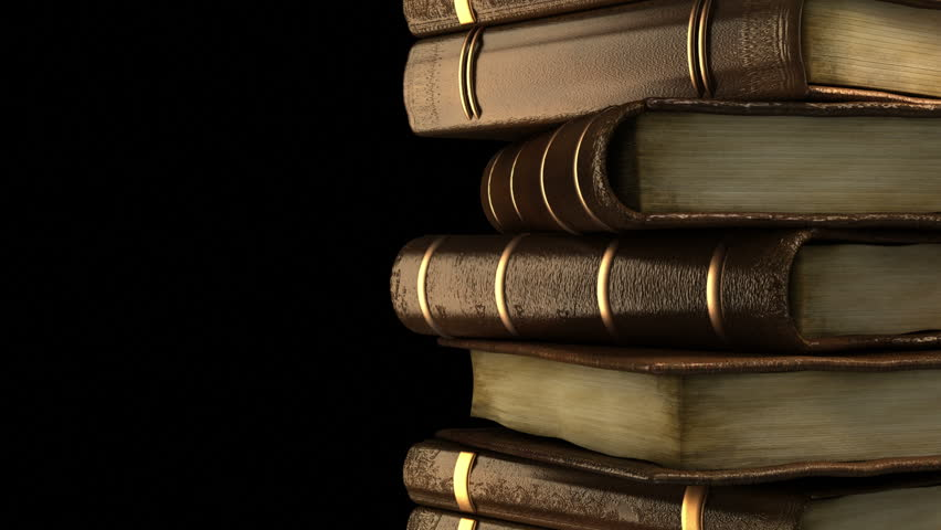 Stack of old books in library - HD stock footage clip