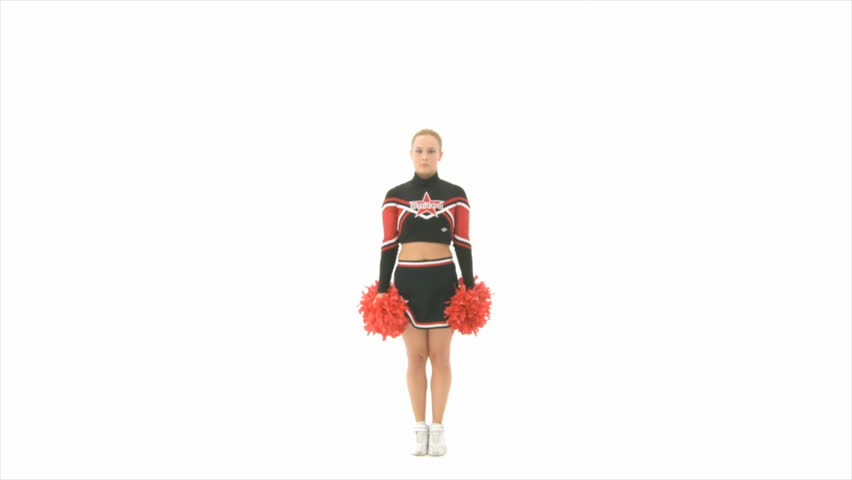 Cheerleader jumps up high Slow Motion - HD stock video clip