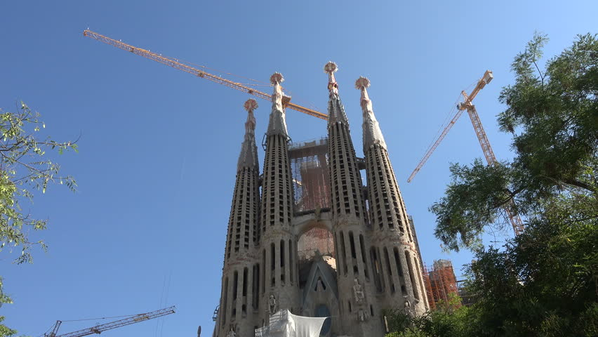 BARCELONA, SPAIN - SEPT 2014: Barcelona SPain Sagrada Familia tilt down. Roman Catholic church and main tourist attraction and destination. Gothic modern cathedral.  Construction began in 1882.