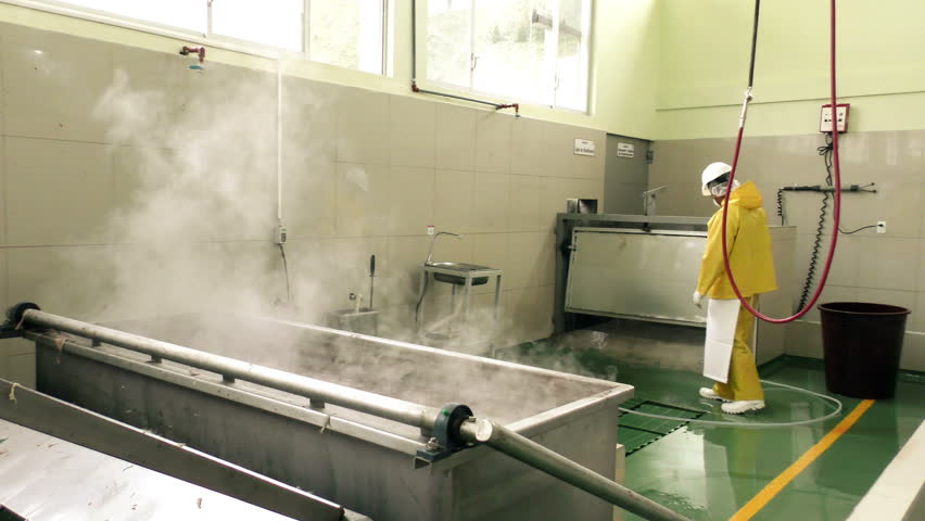 Cleaning and sanitizing of a slaughterhouse, after each shift the facility is cleaned with cold water and steam