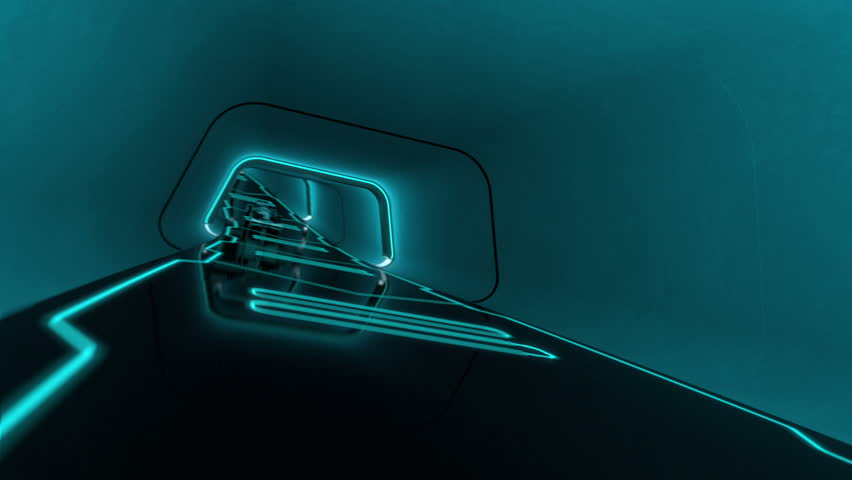 formula one racecar speeding along a futuristic tunnel with neon light lines in tron look - high quality 3d animation - loopable