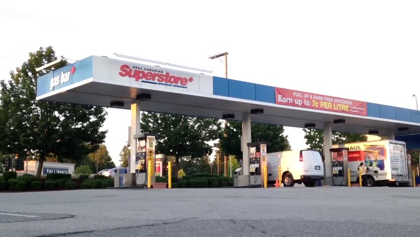 Pitt Meadows, BC, Canada - April 01, 2015 : One side of Superstore gas bar in Coquitlam BC Canada.